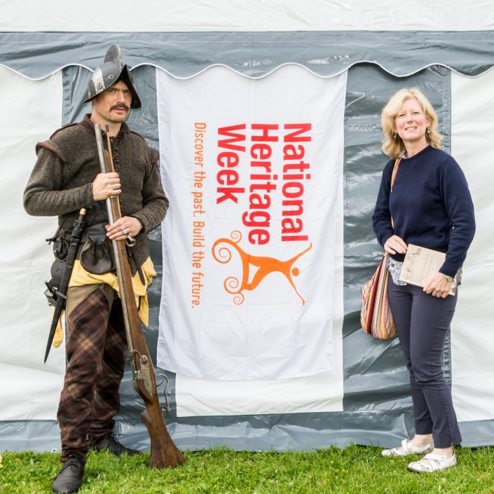 Claíomh's Dave Swift and 'Anglo-Norman Parks in Medieval Ireland' author Dr. Fiona Beglane at Loughrea Walled Towns Day 2015